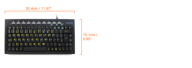 Accuratus mini Hi Vis keyboard dimensions