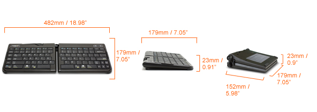 Goldtouch Go keyboard dimensions