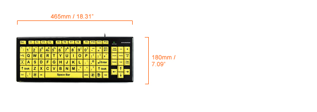 Accuratus Key Monster 2 High Visibility keyboard dimensions