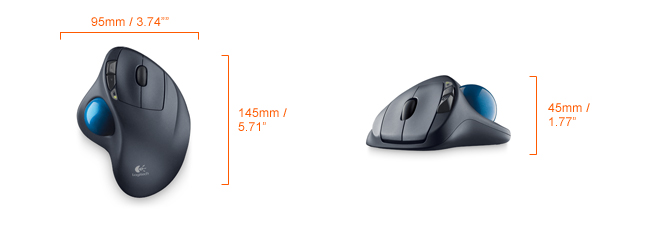 Logitech wireless trackball mouse dimensions