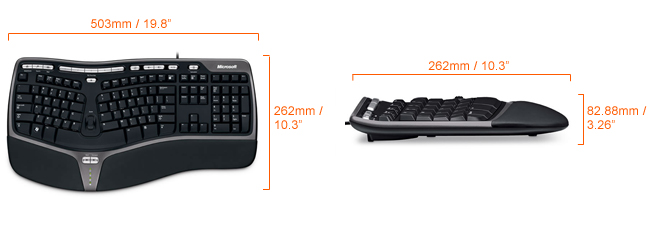 Microsoft Natural Ergonomic 4000 Keyboard Dimensions