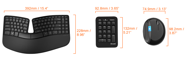 Microsoft sculpt ergnomic desktop dimensions