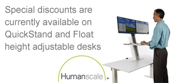 Special discounts on Humanscale QuickStand and Float adjustable height desks