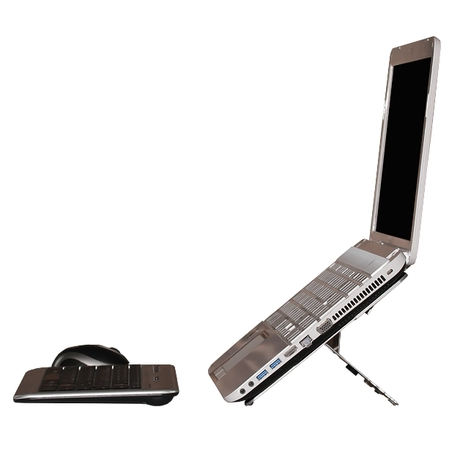 Side view of Agile laptop stand in use