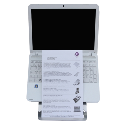 Front view of the Echo laptop stand with laptop and document