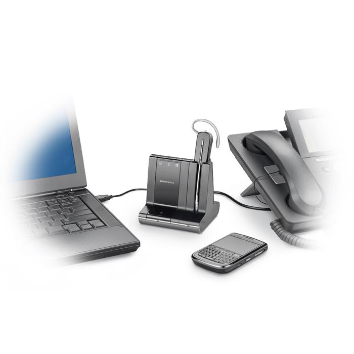 Plantronics Savi PLX W740/A connected to telephone & laptop