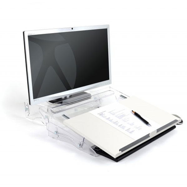 Set up of FlexDesk 630N slid forwards as a writing slope