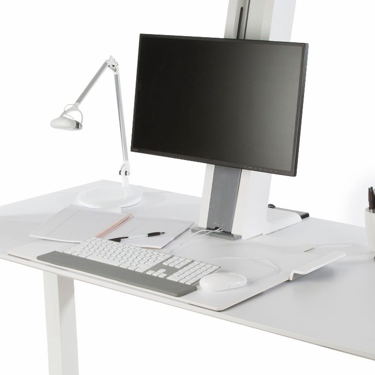 Humanscale QuickStand set up with monitor, keyboard & mouse