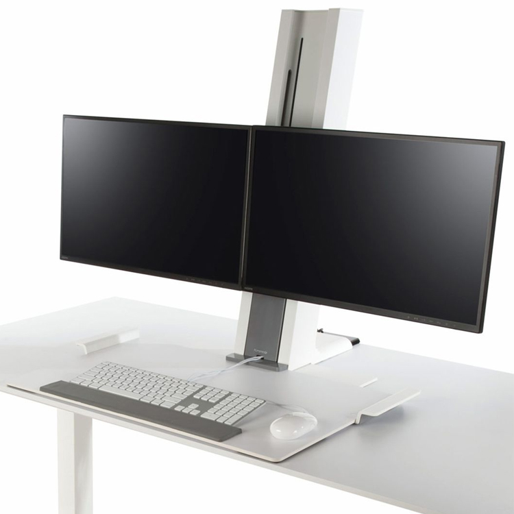 Dual setup for Humanscale QuickStand at sitting height