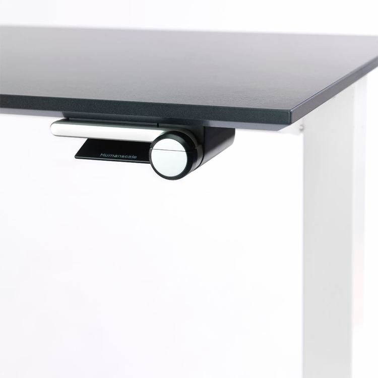 Close up of Humanscale Float desk, height adjustable lever