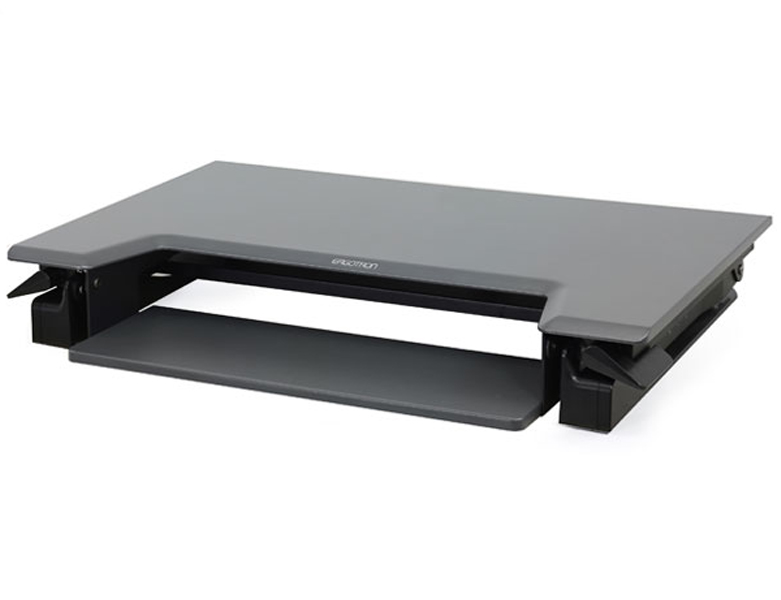 Ergotron Workfit-T sit stand desk in black at lowest point