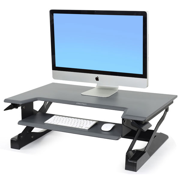 Ergotron Workfit-T sit stand desk in black - set up
