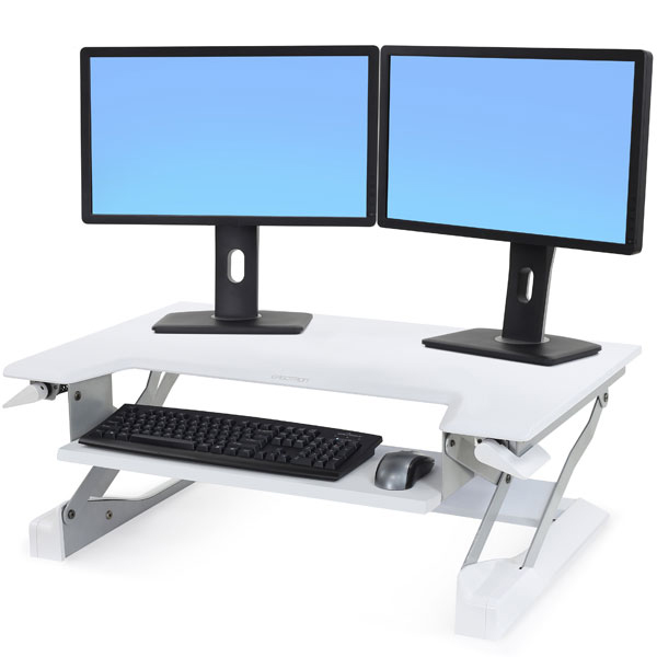 Ergotron Workfit-T sit stand desk showed with two monitors
