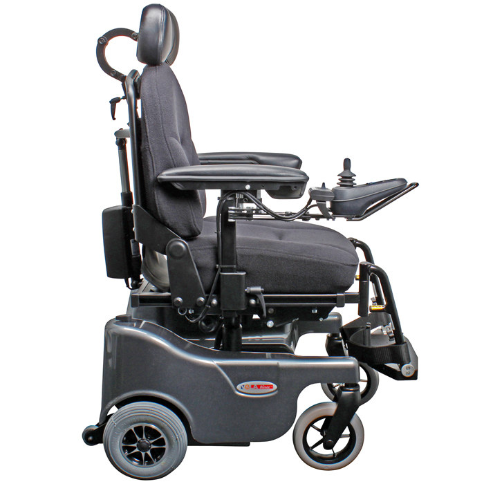VELA Blues 100 Powerchair with swing away legrests and headrest - side view